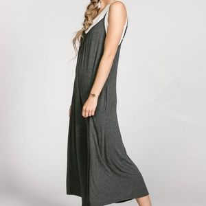 5fc94a82c92 Agnes   Dora Pants - Agnes and Dora Gathered V-neck Jumpsuit Charcoal